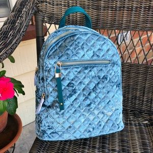 Urban Expressions Teal Velvet Quilted Backpack
